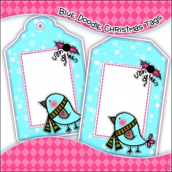 Doodle Christmas Gift Tags - Ref T696 & Ref T697