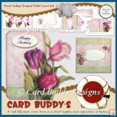 Pink Tulips Shaped Fold Card Kit