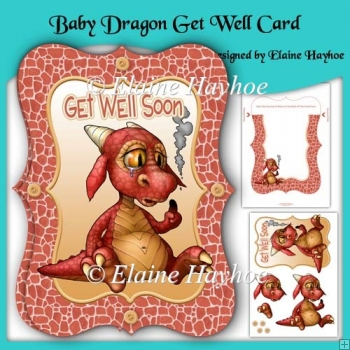 Baby Dragon Get Well Bracket Shaped Card