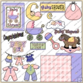 Baby Shower Girls ClipArt Graphic Collection