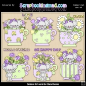 Little Mouse Tea Cups Lilac ClipArt Collection