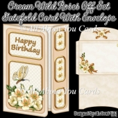Cream Wild Roses Off Set Gatefold Card With Envelope