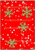 Backing Papers Single - Red With Green Snow Flakes - REF_BP_18