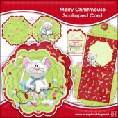 Merry Christmouse Scalloped Card, Insert & Envelope