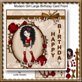 Modern Girl Large Birthday Card Front