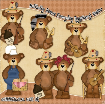 Hillbilly Bears Everyday ClipArt Graphic Collection