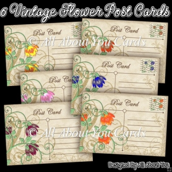 6 Vintage Flower Post Card Toppers