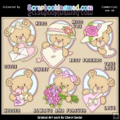 Oval Bears Valentines ClipArt Graphic Collection