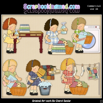 Olivia and Friends Do Laundry ClipArt Graphic Collection