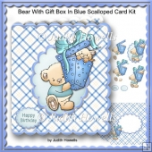 Bear With Gift Box In Blue Scalloped Card Kit