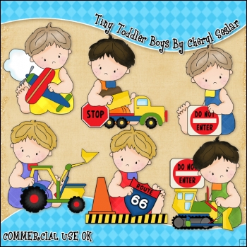 Tiny Toddler Boys ClipArt Graphic Collection