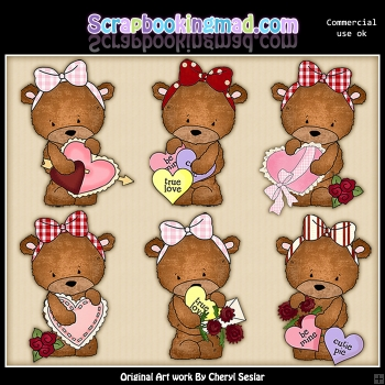 Bailey Bear Sweet Valentines ClipArt Graphic Collection