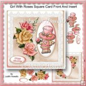 Girl With Roses Square Card Front And Insert