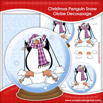 Christmas Penguin Snow Globe Decoupage Download