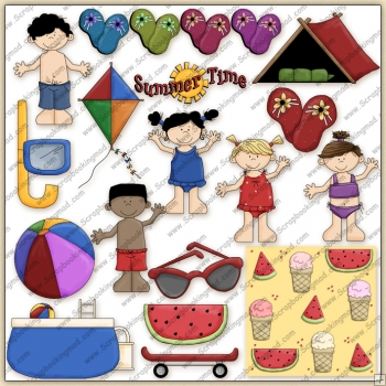 Summer Fun Times Kids 2 ClipArt Graphic Collection