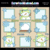 RESALE ART WORK Blue & Green Let It Snow Squares ClipArt