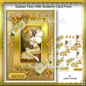 Golden Fairy With Butterfly Card Front