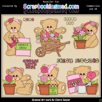 RESALE ART WORK Teddies Fresh Flowers ClipArt Collection
