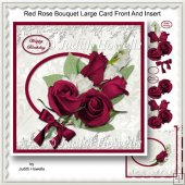 Red Rose Bouquet Large Card Front And Insert