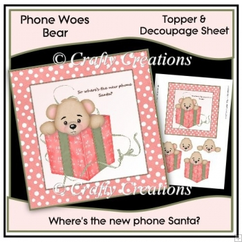 phone woes topper & decoupage - no phone pink