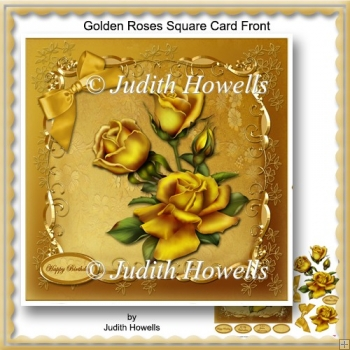 Golden Roses Square Card Front