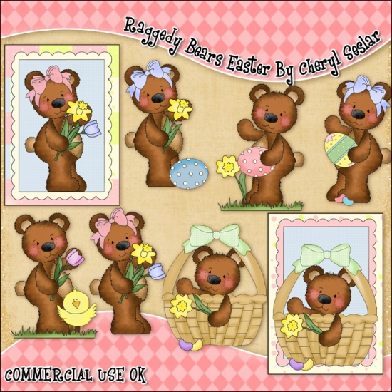 Raggedy Bears Easter ClipArt Graphic Collection - Click Image to Close