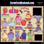 School Time Teddy Clipart Graphics Download