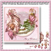 Pink Christmas Baubles And Snowscene Card Front