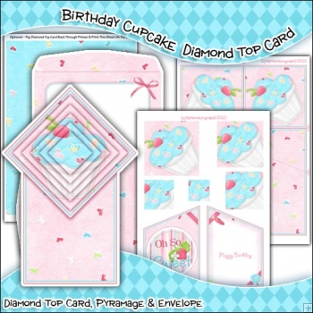 Birthday Cupcake Diamond Top Card Download
