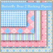 5 Butterfly Bears Backing Papers Download Set 2