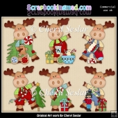 Little Moose Christmas Wishes ClipArt Collection