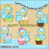 Sweet Birdies Cupcakes ClipArt Graphic Collection