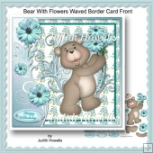 Bear With Flowers Waved Border Card Front