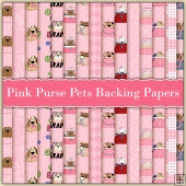 15 Pink Purse Pets Backing Papers Download (C218)