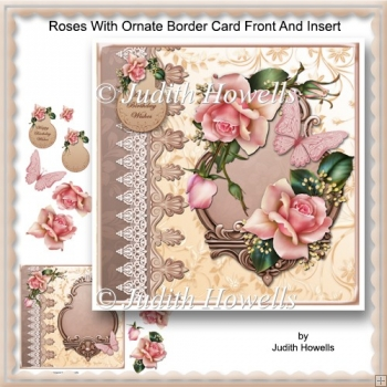 Roses With Ornate Border Card Front And Insert
