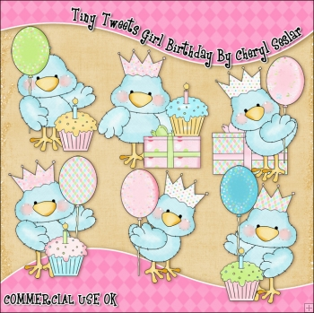 Tiny Tweets Girl Birthday ClipArt Graphic Collection