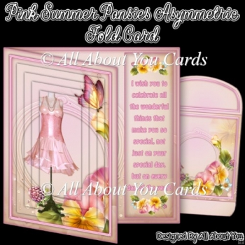 Pink Summer Pansies Asymmetric Fold Card