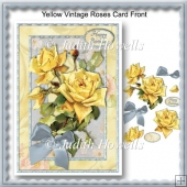 Yellow Vintage Roses Card Front