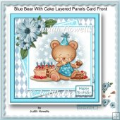 Blue Bear With Cake Layered Panels Card Front