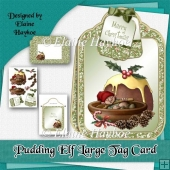 Pudding Elf Large Tag Shaped Christmas Card