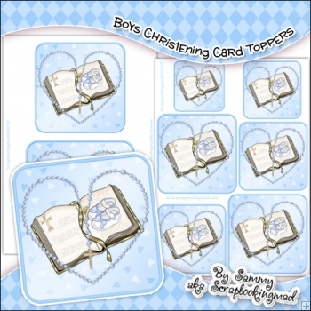 Boys Christening Single Layer Card Toppers