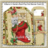 Kittens In Santa's Boot Pop Out Banner Card Kit