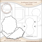 Scalloped Pyramage Easel Card & Envelope Template Commercial Use