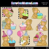 Stuffington Birthday Bears ClipArt Collection