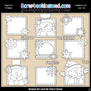 Let It Snow Squares Digital Stamp Graphic Collection