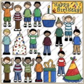 Boy's Birthday Party ClipArt Graphic Collection
