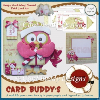 Happy Owl-idays Shaped Fold Card Kit