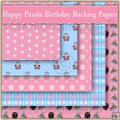 5 Happy Panda Birthday Backing Papers Download (C208)