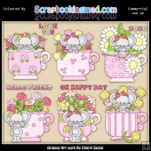 Little Mouse Tea Cups Pink ClipArt Collection