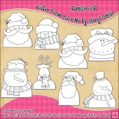 Winter Faces Colour Your Own Clip Art RESALE SET